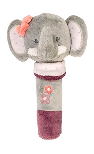 Nattou Stabgreifling Elefant Adèle, Mit Quietsche, Adèle und Valentine, 30 x 20 x 5cm, Grau/Rosa