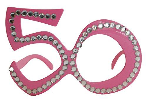 Folat 00752 50. Geburtstag Spaß-Brille mit Diamanten-Rosa, Pink