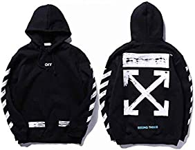 Off-white Classic Arrow Black Hoodie Ins Hot Unisex Hooded Sweatshirt For Men And Women
