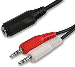 kenable 3.5mm Jack Socket to Twin Jack Plugs Cable - Speakers to Two PCs 1.8m (~6 feet)