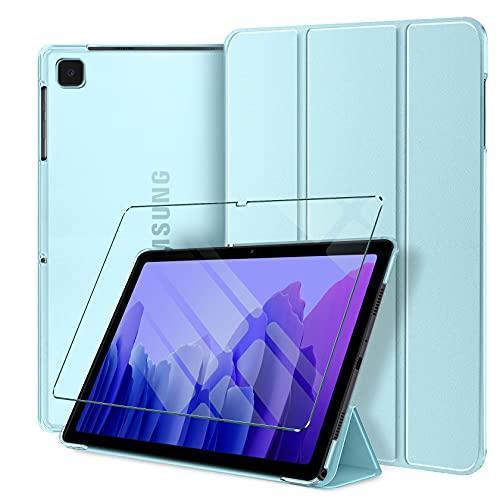 AROYI Funda y Protector de Pantalla Compatible con Samsung Galaxy Tab A7 10.4 2020 (T505/T500/T507) Funda Ultra Delgado Translúcido Smart Cover con Auto Reposo/Activación y Soporte Función