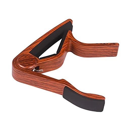 MARSPOWER Guitar Capo Ukulele Capo Deep Wood Grain Metal Capo Tone-variación Clip Tuning Clip Accesorios para instrumentos musicales - Dark Wood Grain