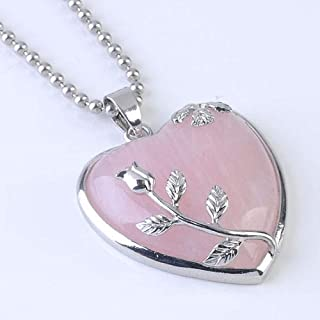 Radiantaccessory Natural Rose Quartz Stone Flower Wrap Crystal Heart Bead Pendant for Necklace