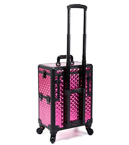 Valise à cosmétique(6 en 1) Trolley maquillage 4 roulettes pivotantes avec Serrures et clés Trolley Multifonctionnel Stockage Ajustable pour Maquillage Nail Art Bijoux ect 36x23x95cm,Pink