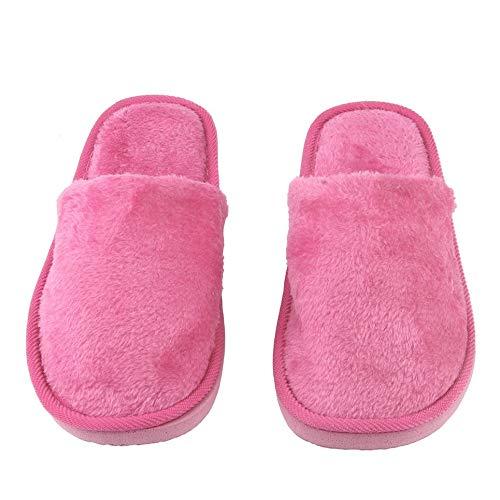 WOIA Felpa Interior Hogar Mujeres Hombres Zapatos Antideslizantes Suaves Calientes Zapatillas Silenciosas de Algodón, Rosa Roja, 40-41