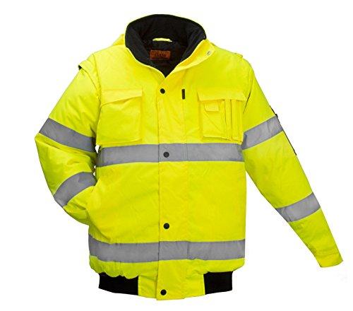 ART.MAS Winterjacke Arbeitsjacke Pilotenjacke Warnweste Warnschutzjacke 2in1(Flash-SH-J-GELB) (L)