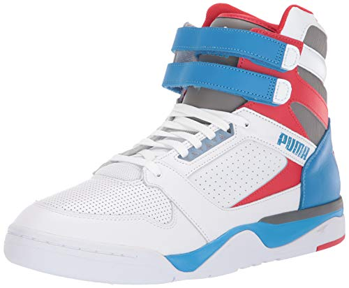PUMA Unisex-Erwachsene Palace Guard MID Turnschuh, Wimpelkette White-Indigo High Risk Red, 45 EU