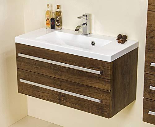 Quentis Badmöbelset Genua, Breite 80 cm, Holzdekor antik, Waschtischunterschrank mit 2 Schubladen, Softeinzug, Waschbeckenunterschrank montiert