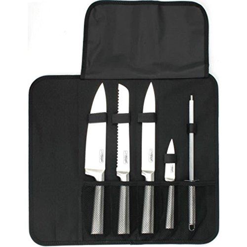 Jean Dubost Créations DK016250X01023 Sacoche avec 4 Couteaux Cuisine/Fusil à aiguiser, Acier, INOX, 38 x 14 x 5 cm