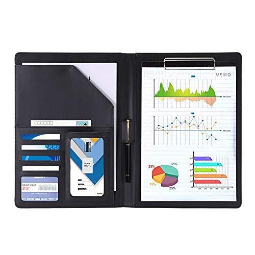 クリップボード 二つ折り ファイルバインダー A4 A5 カード名刺入れPUレザー ビジネスオフィス用品バインダー 書類契約フォルダー 会議パッド 軽量 高級感