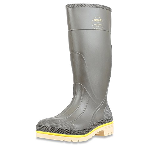 """Servus Pro+ 15"""" PVC Chemical-Resistant Steel Toe Men's Work Boots, Gray, Yellow & Beige (75105) -  Sperian Protection Group, 75105-GYM-110"""