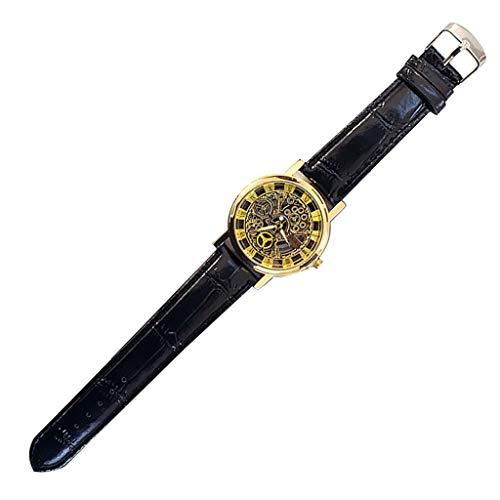 VIMI Relojes Deportes de los Hombres del Reloj de Cuarzo Reloj Digital Cuero Resistente al Agua del dial Grande del Reloj de los Hombres Relojes de Pulsera (Color : Gold)