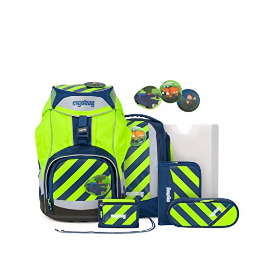 ergobag pack Set - ergonomischer Schulrucksack, Set 6-teilig - IllumiBär - Gelb