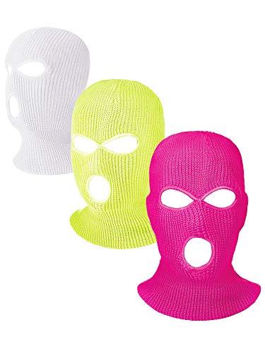 Hicarer 3 Pasamontañas Envoltura de Cabeza Cubiertas Faciales de 3 Agujeros de Esquí de Punta de Deporte de Invierno al Aire Libre