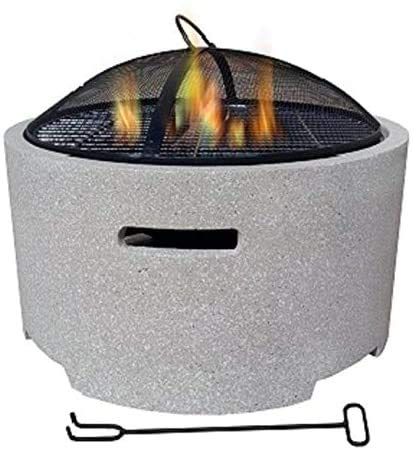 with a Protective mesh Spark Guard fire Pit Suitable for Outdoor Garden Terrace,Grey