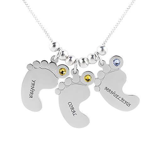 Tanwenling33 Collar de Pies de Bebé con Nombre Grabado Personalizado, Colgante Personalizado con Birthstones para Mamá Regalo de Joyería para Las Mujeres