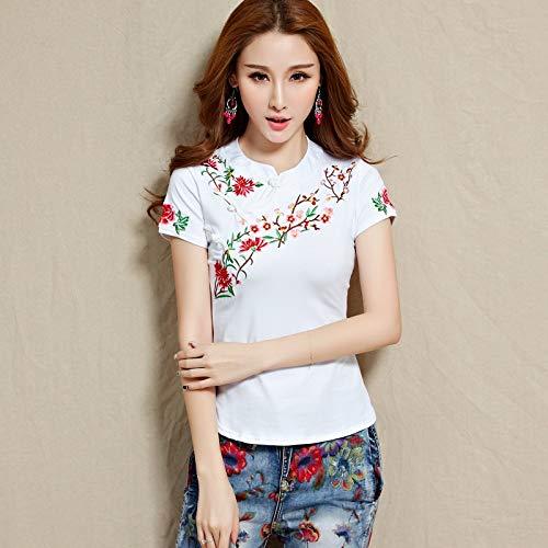 2020 zomer nieuwe nationale wind geborduurd katoen korte mouwen t-shirt grote werven vrouwelijke Chinese kostuum geborduurde blouses merk: QWERTY (Kleur: Wit, Maat : 4XL)