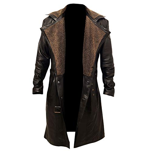MENS GERMAN WW2 BROWN BELTED FUR REAL LEATHER TRENCH LONG WINTER COAT JACKET (L)