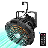 Camping Fan with LED Lights for Tent, Camping Ceiling Fan with Light, VOLUEX Portable Mini USB Desk Fan with Hanging Hook 5200mAh 3 Speeds and Remote Control for Outdoor Camping Travel Home Office