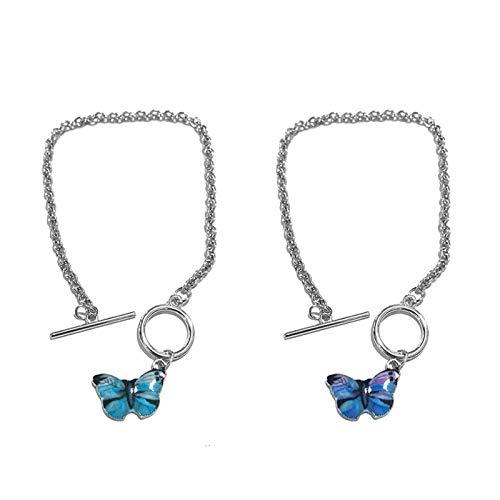 Pulsera 1 par de pulseras de mariposa azul estilo calle pulseras de cadena para pareja mujeres hombres joyería regalos pareja