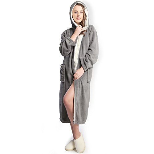 Hooded Women's Grey color Soft Spa Long Kimono Bathrobe with White Shawl Collar For Comfy Sleepwear (S)