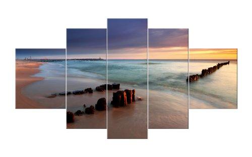 WTD M51068 - Stampa su tela con cornice portafoto 'Sunset', stampa artistica montata su telaio vero