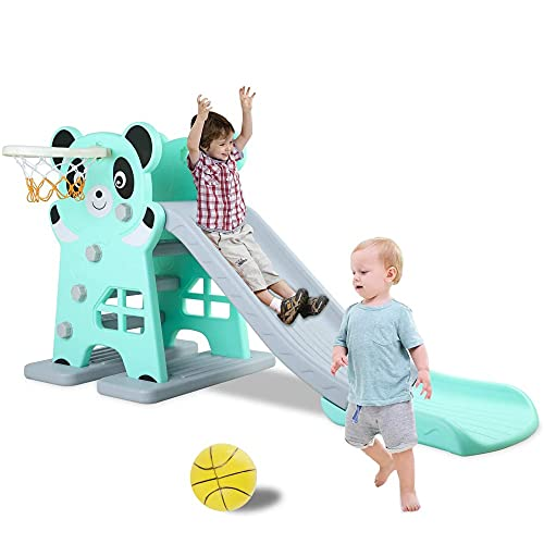 Kids Slide with Basketball Hoop, Freestanding Toddler Slipping Slide Toy Play Slide, Sturdy Baby Climber for Indoor Outdoor Use, with Ball, Playground Game Equipment Set, Boys & Girls Gift (Blue)