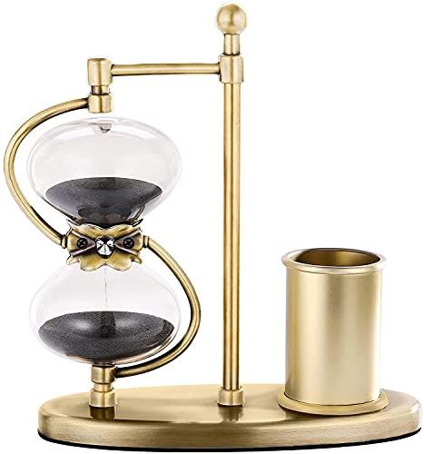 Temporizador de reloj de arena de 60 minutos, rotación de 360°, con soporte para bolígrafo de latón, gran vidrio único de 1 hora para regalo, hogar, escritorio, oficina decorativo
