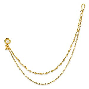 Accessher Gold Plated Brass Clip On Nose Stud with Double Chain for Girls and Womens