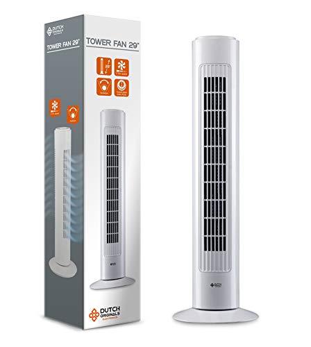 DUTCH ORIGINALS Ventilatore a torre silenzionso 74cm, torretta ventilatore oscillazione automatica 70°, 3 velocità, ventilatore a colonna 50W