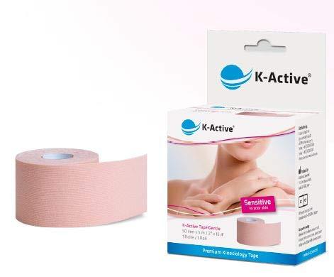 K-Active Tape Gentle I Kinesiologisches Tape mit ausgezeichneter Verträglichkeit für die sensible Haut durch die STRATAGEL® Klebe - Technologie I reizfreie Abnahme I sanftes Therapie-Tape