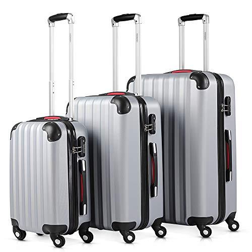 Monzana® Kofferset Baseline 3er Hartschalen-Koffer Trolley Reisekoffer Rollkoffer Handgepäck 4 Rollen M-L-XL Set Silber