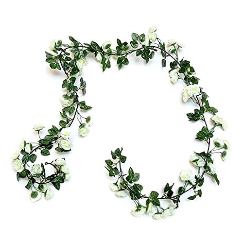 JSJJAES Artificial Flowers Garlands Artificial Silk White Fake Rose Flower Vines Hanging Flower Garlands Wedding Flower Party Garden Decoration (Color : W)