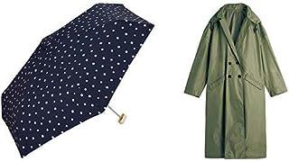 【セット買い】ワールドパーティー(Wpc.) 雨傘 折りたたみ傘 ネイビー 50cm レディース クラッチバッグタイプ ドットミニ 106-158 NV+レインコート ポンチョ レインウェア カーキ FREE レディース 収納袋付き R-1109 KH