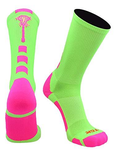 TCK Midline Lacrosse Logo Crew Socken, Herren, Neongrün/Hot Pink, Large