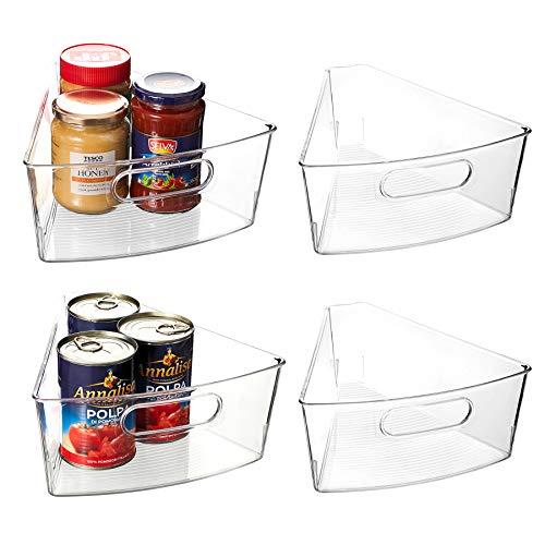 "EAMAOTT Lazy Susan Organizer Set of 4 Clear Transparent 104"" x 95"" x 4"" Plastic Corner Kitchen Cabinet Storage Bins 18 Wedge 4 Deep Container - Food Safe BPA Free"
