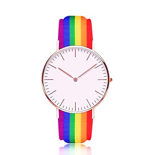 Bandmax LGBT Regenbogen Silikon Uhrenarmband 22mm breit Klassische flexibele Ersatzarmband Sportarmband mit Edelstahl Schnalle Accessoire für Damen Herren Kompatibel für die meisten Uhren
