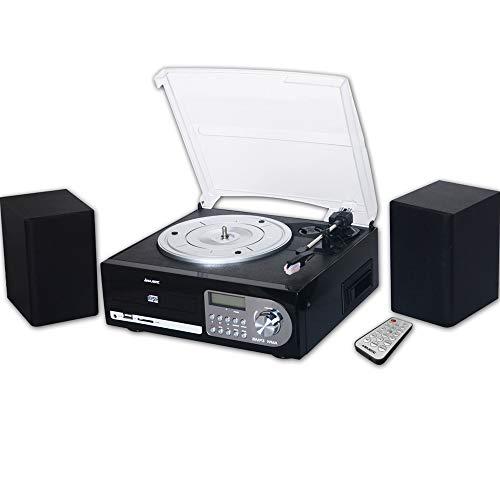 Majestic TT 38R CD TP USB SD - Giradischi 33/45/78 Giri, Lettore CD/MP3, Cassetta, Ingresso USB/SD Recorder, Nero