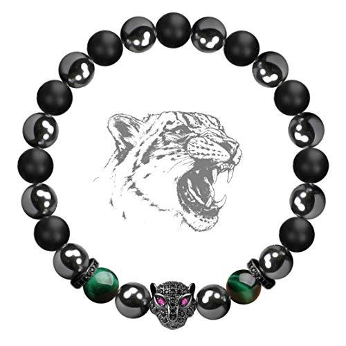 Karseer Black Panther Anxiety Bracelet, Natural Matte Onyx Healing Crystal and Magnetic Hematite Energy Balance Stone Beaded Elastic Bracelet, Handmade Prayer Meditation Stress Relief Bracelet