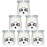 200ml, 6 pcs vasetti per yogurt barattoli di vetro vasetti di conservazione con emoticon vasetti di ricambio vasetti di marmellata con coperchio in silicone per desse di yogurt maker