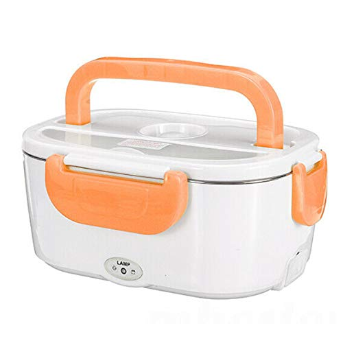 Glomixs Portable Electric Heated Heating Lunch Box Travel Food Warmer Car Stainless Steel Liner Lunch Box