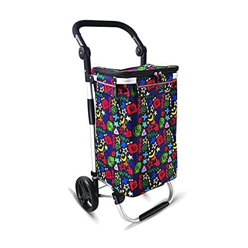 Guomipai Carrito de la compra 45 L con bolsa de tela y rueda de rodamiento plegable para comestibles utilidad escalera, carrito para ir de compras, carrito de utilidad de lavandería (color : graffiti)