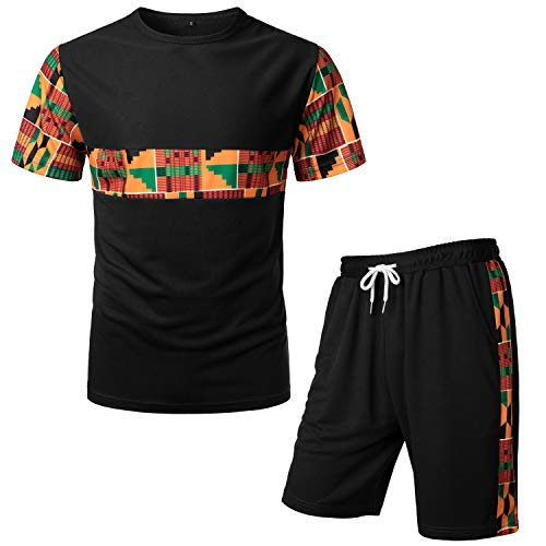 LucMatton Men's African Pattern Printed T-Shirt and Shorts Set Sports Mesh Tracksuit Dashiki Outfits Black X-Large