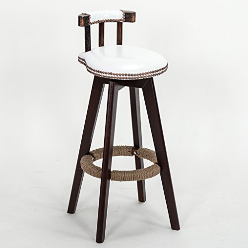 Chaise de bar en bois massif, chaise de bar continental créativité ménage haute tabouret Vintage chanvre corde fauteuil réception chaise chaise décorative 38 * 38 * 72cm (Couleur : H)