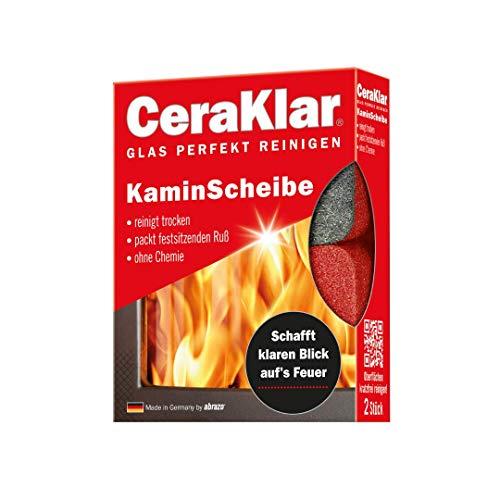 abrazo CeraKlar KaminScheibe, 2x Kaminscheibenreiniger-Schwamm kratzfrei, Kaminreiniger Scheibe, Kamin-Ofen-Glas-Reiniger
