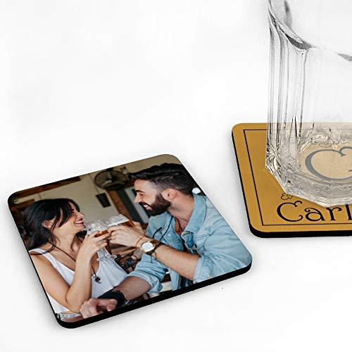 LolaPix Sottobicchieri di Legno Quadrati Personalizzati con Foto, Immagine o Testo, Originale ed Esclusivo. Diversi Modelli.