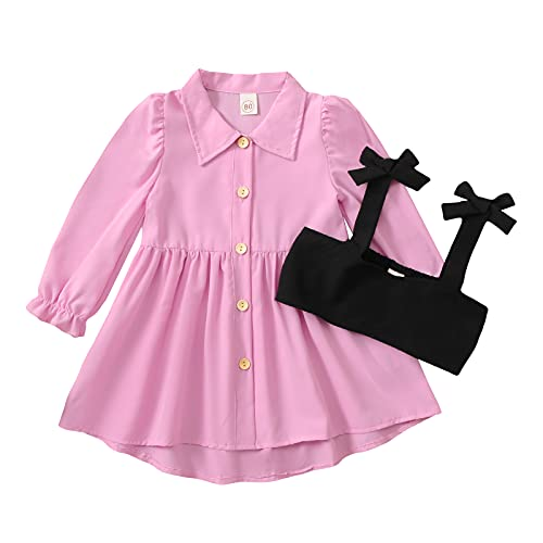 1-6 años vestido de camisa para niñas pequeñas con corsé chaleco de manga larga Bustier vestido vintage Streetwear bebé otoño vestido, E-rosa., 12-18 Meses