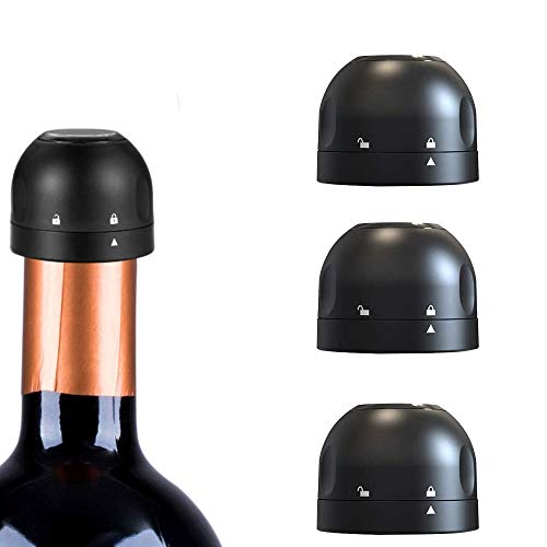 Tappo per Bottiglia di Vino,3 Pezzi Tappo Vino Sottovuoto,Tappo per Bottiglia di Vino in Silicone,Tappo per Champagne,Risparmio di Vino Riutilizzabile,per Vino Birra Champagne Alcool Spumante(Nero)