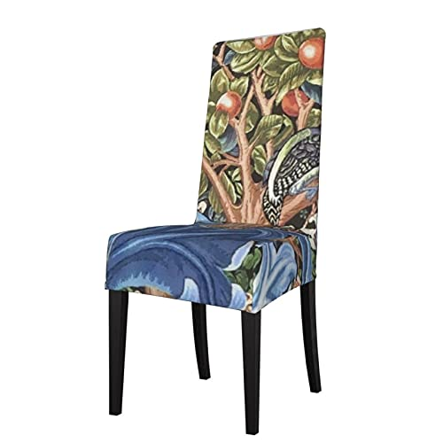 2PCS Stretch Chair Covers for Dining Room,William Morris Woodpecker Tapestry Floral Vintage Chair Protector Slipcovers Christmas Decoration,Ceremony,Banquet Wedding Party Dining Room Seat Cover