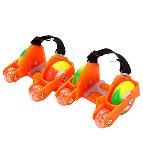 ZCRFY Rollschuhe Quad Skates Inline-Skates Kinder Einstellbare 4-Rad Flash Hot Wheels Schuhe Skateboard Inline Skates Studenten Reisen Roller Schuhe Drift,Orange-Set1
